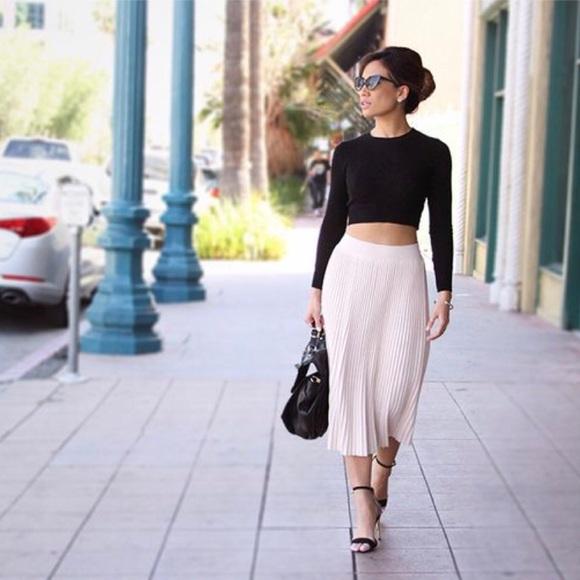 005f4a2f78 Zara Skirts | Knit Blush Pleated Midi Skirt | Poshmark